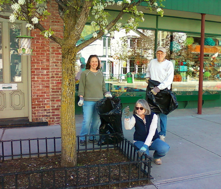 Village Beautification volunteers Marcia Cary, Carol Vontobel, and Parry Teasdale